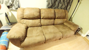 Miro suede reclining couch and love seat