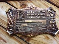 heavy brass plaque for golf player