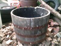 Oak barrell, half, 3 steel bands, watertight, heavy