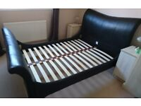 Brown leather double bedstead - Corndell Wave