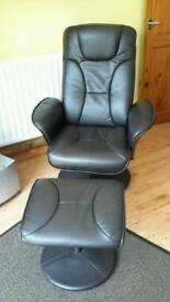 reclining faux leather chair with foot stool