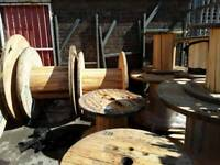 Wooden cable drums reclaimed ,ready for up cycle into tables and display units