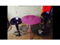 Bistro table with 2 gas lift stools - purple