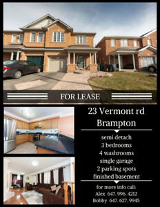Amazing semi available for lease in Brampton