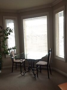 BEAUTIFUL GLASS DINETTE OR DINING ROOM SET