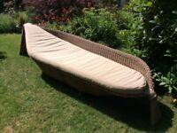 Rattan designer garden lounger