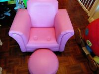 childs rocking sofa and pufe pink