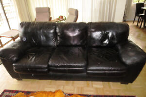 MUST SELL BY SEPT 28 - Black Leather Sofa and Arm Chair
