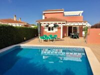 MENORCA. DETACHED VILLA WITH PRIVATE POOL AND GARDENS WITHIN WALKING DISTANCE TO ALL AMENITIES