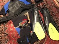 Scuba wetsuit, fin and accessories