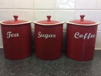 Linea Set of 3 - Tea, Coffee, Sugar Canisters
