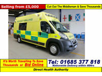 2010 - 60 - PEUGEOT BOXER 3.0HDI OH BODY AMBULANCE / CAMPER (GUIDE PRICE)