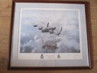 Signed C J Stothard print - ' Waddington's Lincoln ' - a Lancaster plane flying over Lincoln