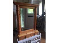 Pine 2 Drawer Mirror