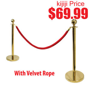 Gold Stanchion Kit with Red Velvet Rope with 2 Poles 1 Rope, New
