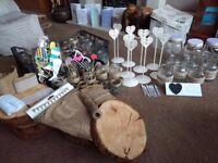 Rustic Wedding Decoration Bundle. Wood Rounds, Jars, Table Stands etc.