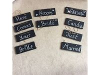 Wedding hand made signs. Black chalk paint and white writing.