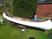 Canadian Canoe two seats Fiberglas and strong