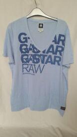 G-Star Raw Baby Blue V Neck T-shirt Size XL