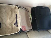 2x black medium antler suitcases