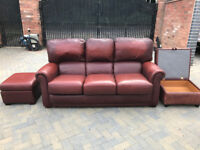 3 Seater Leather Sofa (Light Burgundy/Cumin Red) with Storage Box Stool and Foot Stool