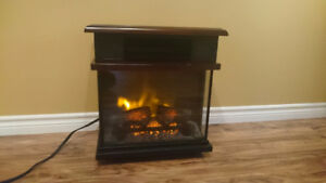 Infrared heater with fireplace