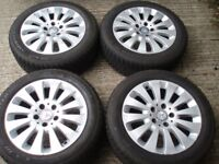 """Genuine set wheels 16"""" Mercedes A B CLA C class Tyres 205/55/16 tread 7-8mm Delivery available"""