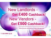 Landlords & Vendors Wanted in West London. Get up to £500 Cashback when joining Us.