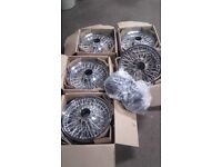 JAGUAR DAIMLER CHROME 5 WIRE WHEELS stainless steel spokes WITH NEW TUBES OLD FEW MONTHS OLD