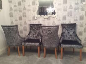 Set of 4 grey crushed velvet ascot dining chairs. Absolutely beautiful. Never been used