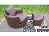 Ex-display Endurance Brown Leather Swivelling Chair and Footstool.