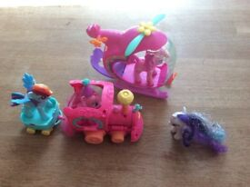 My little pony helicopter, train and figures, rainbow dash and 2 others