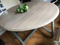 Drop leaf Dining Table - rustic, pained and waxed