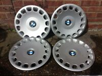 "15"" BMW wheel trims hub caps wheel covers, 4x, full set, genuine BMW"