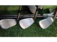 Golden Bear Golf Clubs, 1 & 3 wood, 3-PW except 8, graphite shafts, right handed
