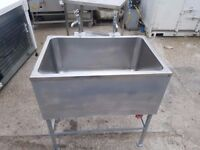 COMMERCIAL STAINLESS STEEL SINGLE DEEP BOWL SINK LARGE SINK WITH 2 TAPS HEAVY