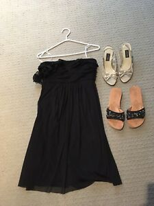 Black formal dress size xs/ 2 pairs sandals size 7.5/FREE ITEM