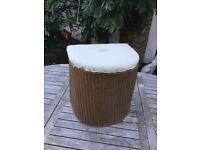 Vintage Lloyd Loom Linen Laundry Basket
