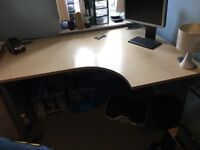 Large office corner desk and lockable drawers with key for sale!