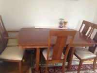 Pine wood brown solid extandable dining table and 6 chairs