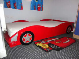 racing car single bed and mattress