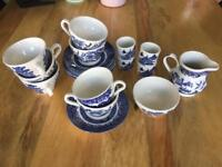 China Churchill Tea Set. 6cups and saucers, 2 sugar bowls, 4 egg cups and a milk jug.