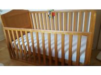 Nearly New Mothercare Darlington Baby/Infant Cot Bed (Antique) - 496806 With Sprung Mattres