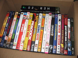 Box of dvds and blu rays and one series