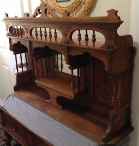 Gorgeous Antique Carved Wooden Hanging Mirror Shelve