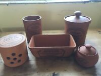 Crockery Set with tea, sugar & garlic caddies and bread tray