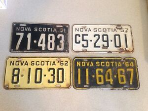 Vintage NS License Plates, As Priced Below