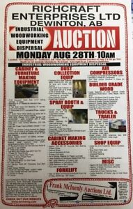 UNRESERVED WOODWORKING EQUIPMENT DISPERSAL AUCTION