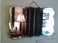 antique bevelled edge mirror 54 x 33 cm