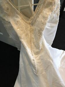 plus sized Wedding Dress with Pearl accents
